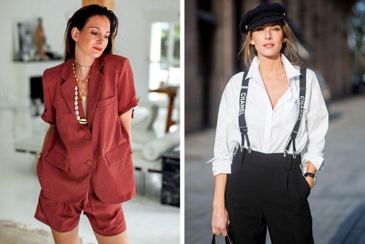 9. Quần áo nam tính Coco Chanel đã chứng minh cho thế giới thời trang thấy rằng quần áo nam tính luôn phù hợp với bất kỳ tủ quần áo của những cô nàng được mệnh danh là tính đồ thời trang. Thoạt nhìn có vẻ như chiếc áo sơ mi hoặc áo blazer này sẽ che đi dáng người của bạn, nhưng trên thực tế, nó có thể tôn lên sức hấp dẫn của phái đẹp một cách hiệu quả. Đó là những gì Sharon Graubord, quản lý hàng đầu của một cơ quan dự báo các xu hướng thời trang hiện đại ở New York đã từng chia sẻ.  Chọn quần áo phù hợp với kích cỡ của bạn để tạo ra vẻ ngoài hoàn hảo. Bạn có thể phối hợp quần áo với các chi tiết nam tính và nữ tính để nhấn mạnh đối lập giữa lạnh và ấm. Hãy trang điểm tươi sáng, phụ kiện phù hợp cùng chiêc túi xách thời thượng, giày cao gót hoàn toàn có thể tôn lên vẻ lịch lãm và cá tinh bên trong bộ suit bạn đang mặc.