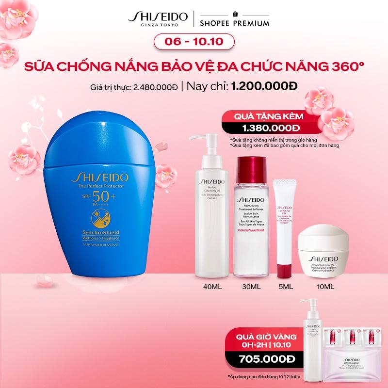 Sản phẩm sữa chống nắng Shiseido GSC The Perfect Protector 50ml nhận ưu đãi mua 1 tặng 4 đầy hấp dẫn với tổng giá trị thanh toán chỉ 1.200.000 đồng. Bên cạnh đó còn được giảm thêm 100.000 đồng cho đơn từ 1 triệu đồng khi nhập mã SHISSH100. Nếu mua khung giờ vàng 0g-2g sẽ nhận thêm quà tặng trị giá đến 705.000 đồng. Số CBSPMP: 96700/19/CBMP-QLD