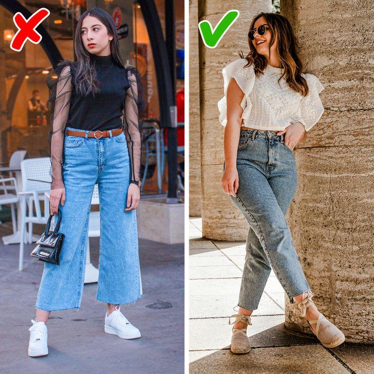Chọn kích thước phù hợp. Những chiếc quần quá chật hoặc quá nhỏ sẽ không tôn lên dáng người của bạn và nếu chúng trông quá rộng, chúng sẽ khiến dáng bạn thêm cồng kềnh không cần thiết. Hãy chắc chắn rằng chúng vừa vặn với bạn và cân nhắc các đường viền khi kết hợp chúng với các phụ kiện khác.