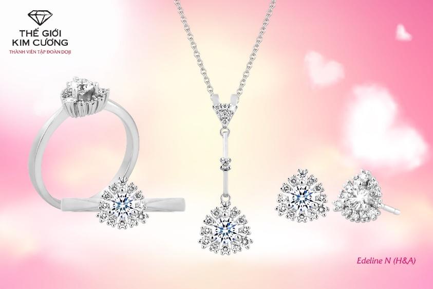 Edeline - Bộ trang sức kim cương 8 Hearts & 8 Arrows mang đến vẻ đẹp rực rỡ, hoàn hảo cho phái đẹp dịp 20/10