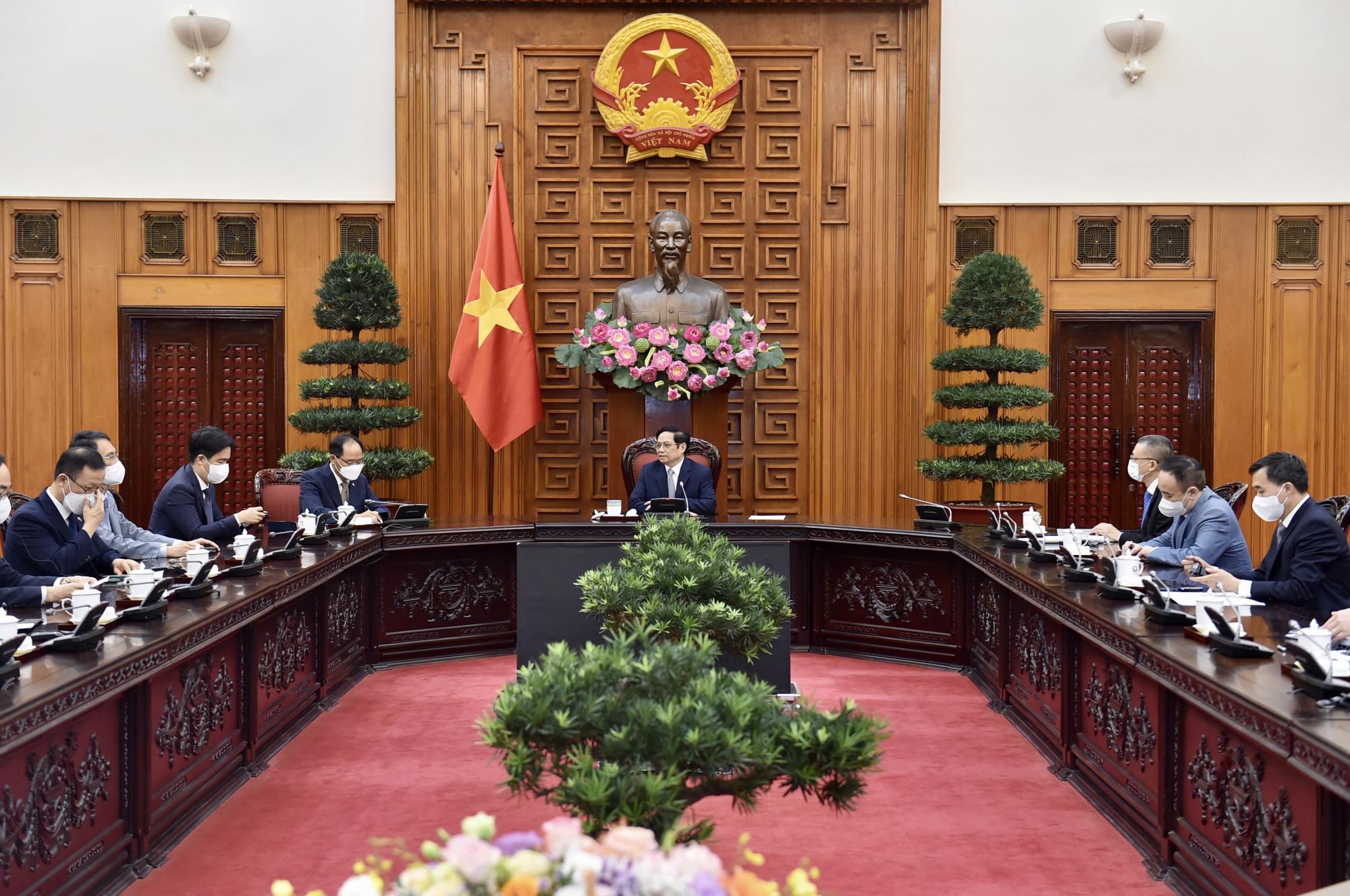 Ngày 12/10, tại Trụ sở Chính phủ, Thủ tướng Chính phủ Phạm Minh Chính tiếp Đại sứ Hàn Quốc tại Việt Nam Park Noh Wan - Ảnh: VGP