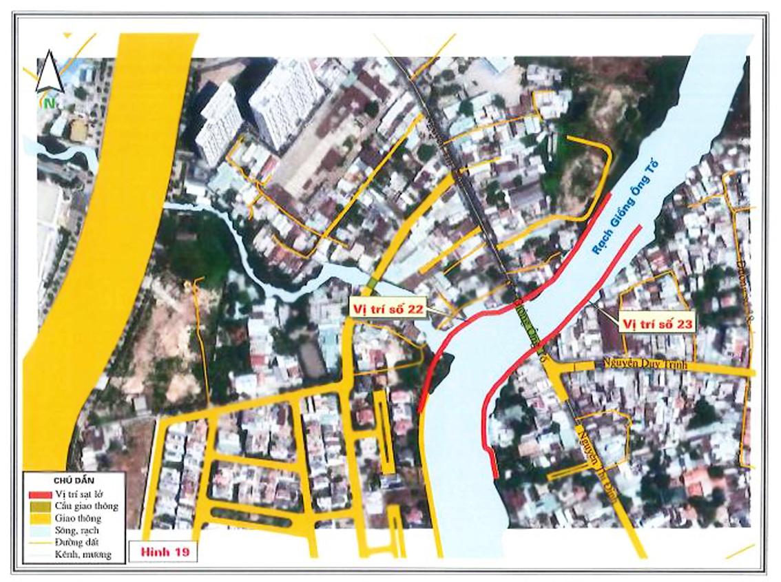 Hai điểm sạt lở rạch Giồng Ông Tố làm ảnh hưởng đến ít nhất sáu nhà dân trong tháng Bảy và tháng Tám vừa qua (ảnh lấy từ bản đồ các điểm sạt lở của Sở Nông nghiệp và Phát triển nông thôn TP.HCM)