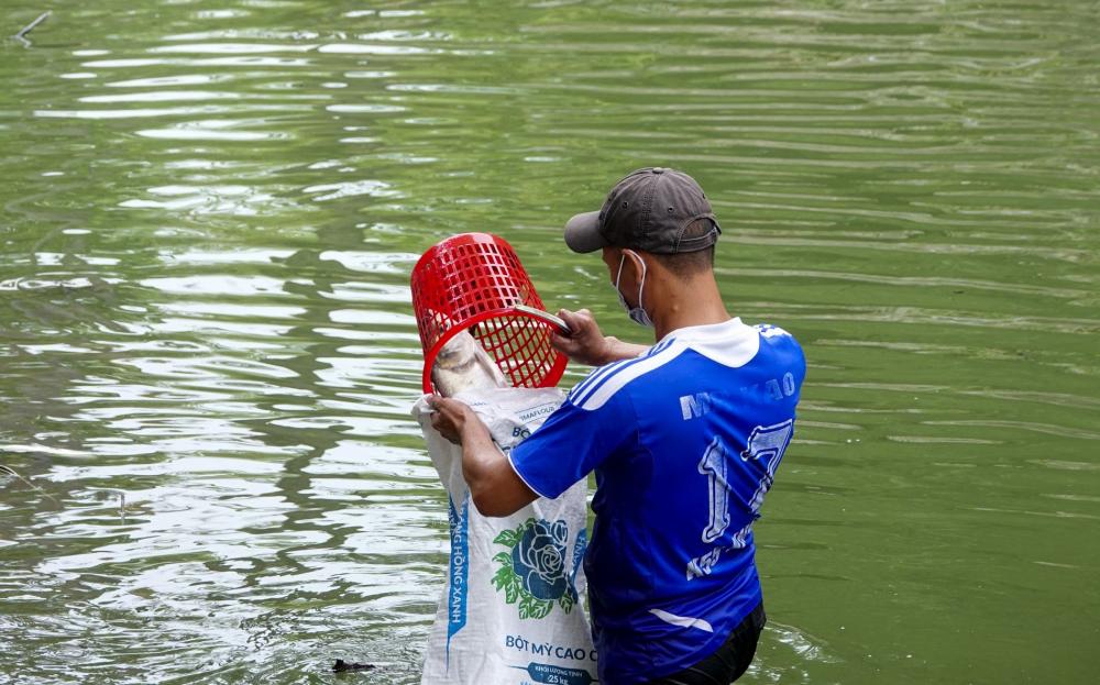 Nhiều người còn mạo hiểm lội ra giữa dòng sông để câu cá