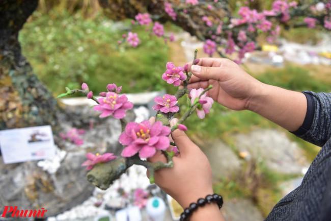 <p>Để tạo ra một cây đào có dáng chuẩn đẹp, chủ nhân của cây đào đã mời thêm nghệ nhân, các cụ lớn tuổi ở làng đào Nhật Tân đến tư vấn về dáng cây, kĩ thuật, chi tiết cần chú ý.</p>