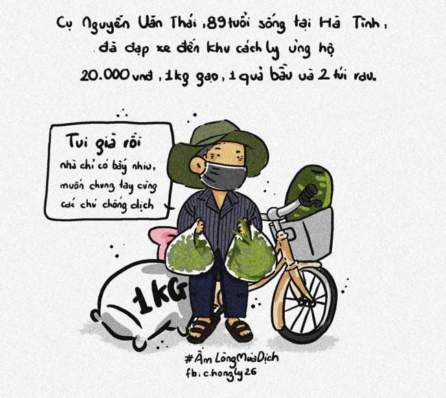 <p>Khi đại dịch COVID-19 đang ngày diễn biến phức tạp, Ly xúc động khi tình cờ đọc được bài báo về cụ ông gần 90 tuổi ở Hà Tĩnh đã đạp xe đi quyên góp 20.000 đồng cùng quả bầu và 2 túi rau cho lực lượng phòng chống dịch.</p>