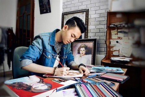 Nam sinh Nghệ An lên báo Mỹ nhờ 'tuyệt tác' tranh truyền thần