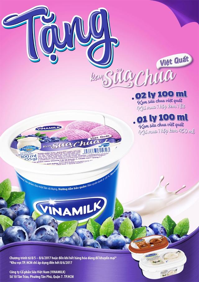 Tang kem sua viet quat khi mua kem Vinamilk