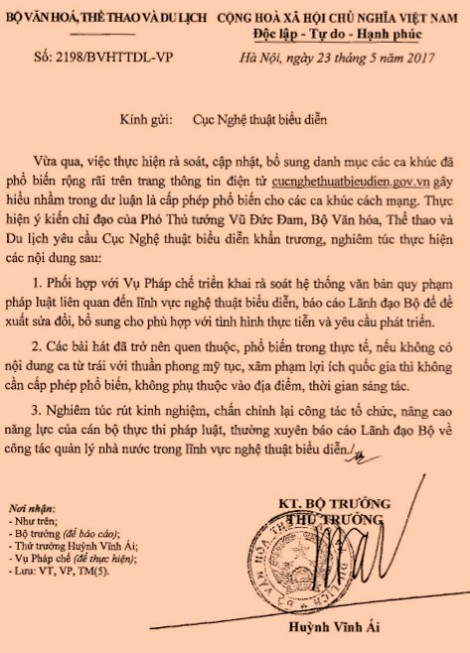 Bộ VH-TT&DL lên tiếng về việc 'Cục NTBD cấp phép 300 ca khúc nhạc đỏ'