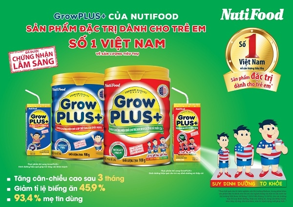 GrowPLUS+ cua NutiFood la san pham dac tri dung so 1 Viet Nam