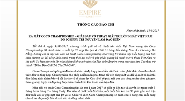 Cocobay to chuc dau MMA trai phep o Da Nang?