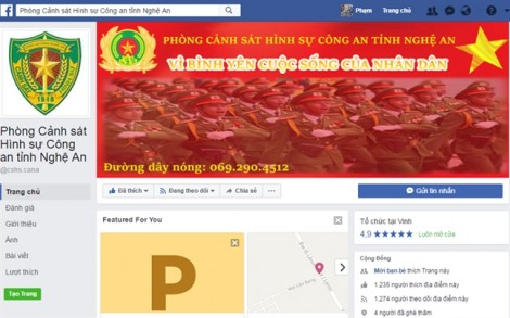 Cảnh sát hình sự nhận tin tố giác tội phạm từ mạng xã hội