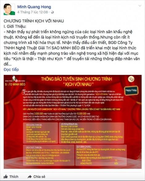 Bất chấp dư luận chỉ trích, Minh Béo lại đăng thông tin tuyển thí sinh