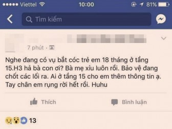 Hoang mang tin trẻ bị bắt cóc trong khu chung cư ở Sài Gòn