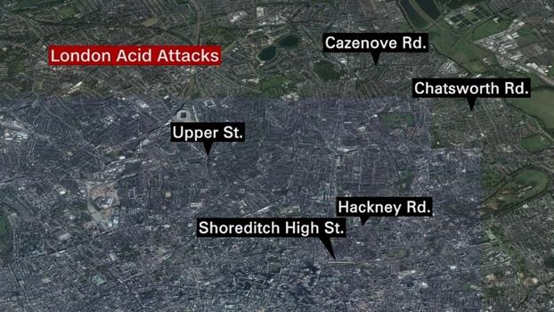 Tan cong axit o London, 5 vu trong vong 70 phut