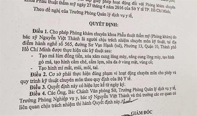 Chu tham my vien Viet Thanh: 'Benh nhan truy mach 15 phut sau khi tiem thuoc te'