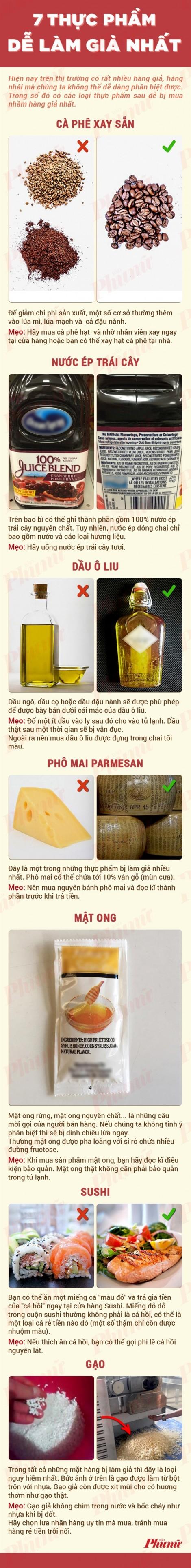 7 thực phẩm thường xuyên bị làm giả