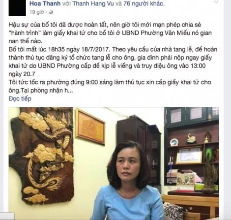 Vụ gây khó khi cấp giấy chứng tử: Đình chỉ công tác Phó chủ tịch phường Văn Miếu