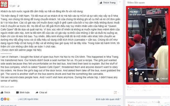 Nhan vien nha xe duoi khach nuoc ngoai xuong duong o Nha Trang