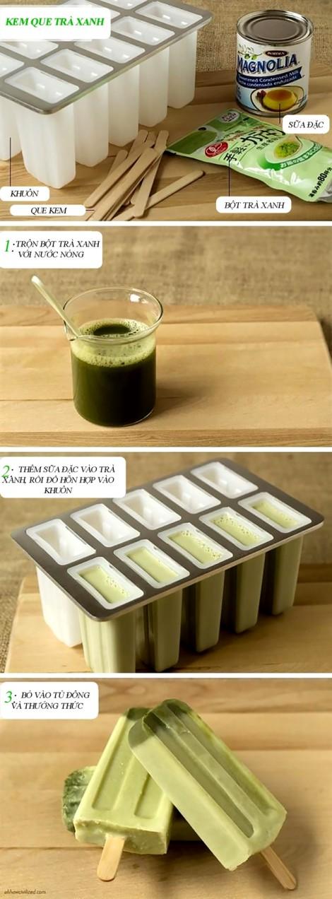 Cách làm kem que trà xanh với 3 bước siêu đơn giản