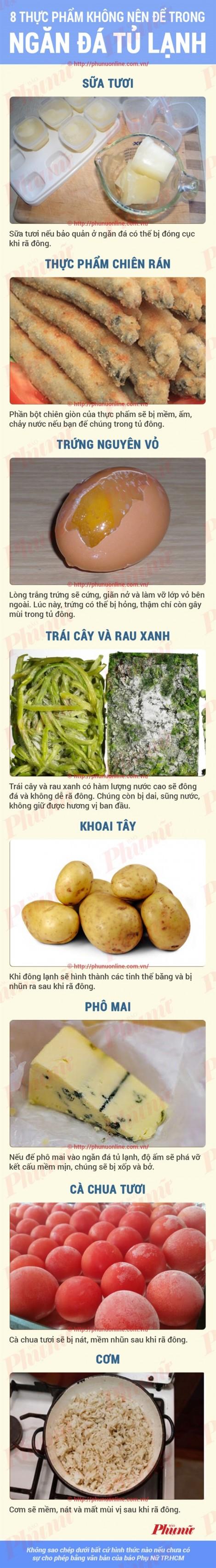 8 thực phẩm không nên để ở ngăn đá tủ lạnh