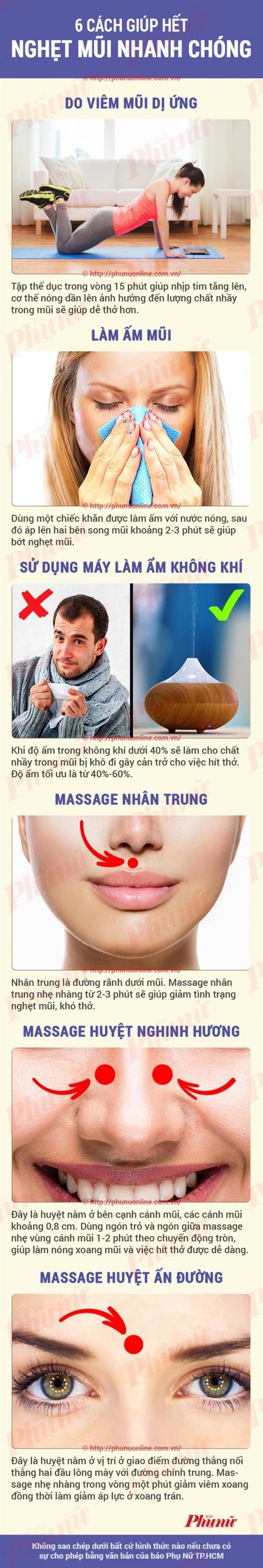 6 cách giúp hết nghẹt mũi nhanh chóng