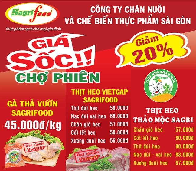 Chao mung Cho phien Nong san an toan tai cong vien Le Thi Rieng vao ngay 24/9/2017 Sagrifood khuyen mai soc giam 20-25%