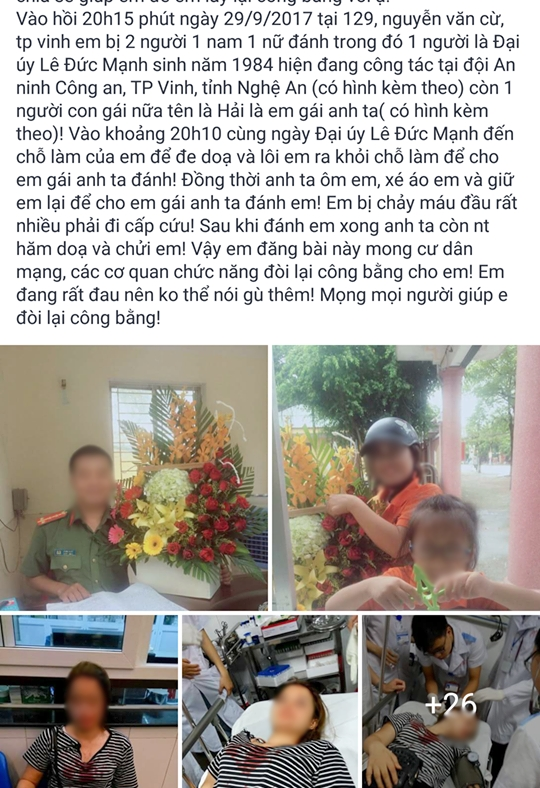 Nu sinh to bi 'anh em' dai uy cong an hanh hung, cau cuu cu dan mang