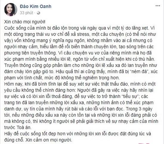 Dien vien Kim Oanh: 'Trong vong 3 ngay, neu vo Xuan Bac khong xin loi thi toi se gui don kien'