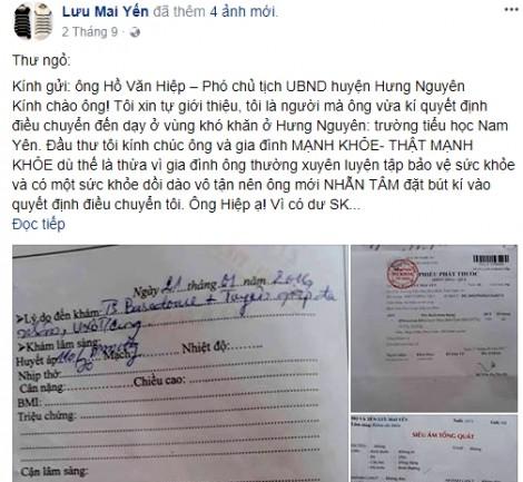 Nữ giáo viên viết 'thư ngỏ' trên mạng xã hội gây... ảnh hưởng đến huyện?