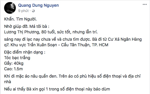 Dao dien Nguyen Quang Dung tim me di lac vi lan tri