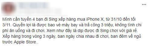Bao ve may bay, tra cong 3 trieu thue nguoi sang Singapore cho mua iPhone X