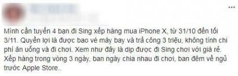 Bao vé máy bay, trả công 3 triệu thuê người sang Singapore chờ mua iPhone X