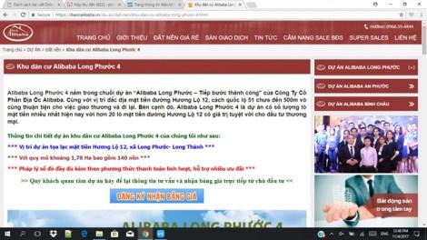Công ty cổ phần địa ốc Alibaba: Lập website 'lậu', lừa dối bán hàng trái phép?