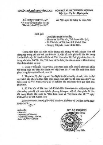 Bộ VH-TT&DL chính thức yêu cầu kiểm tra, xử lý nghiêm các sai phạm của BTC 'Hoa hậu Hoàn vũ Việt Nam 2017'