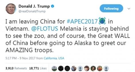 APEC 2017: Đệ nhất phu nhân Melania không tới Việt Nam cùng Tổng thống Trump