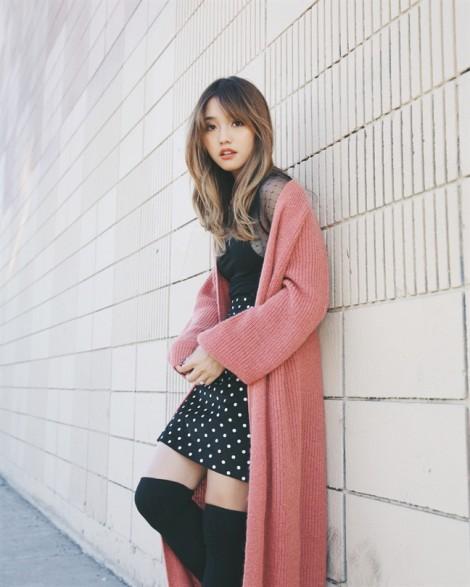 Áo khoác len dáng dài  - đỏm dáng mùa đông