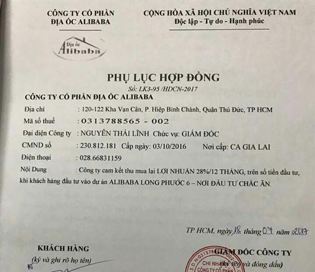 So Tai nguyen Moi truong TP.HCM canh bao khan Cong ty dia oc Alibaba ban du an 'ma'