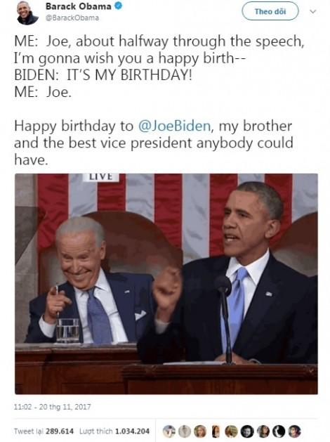 Lời chúc sinh nhật siêu dễ thương ông Barack Obama dành cho 'tri kỷ'