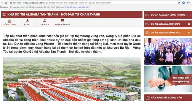 Dong Nai, Ba Ria - Vung Tau dong loat kiem tra hoat dong Cong ty dia oc Alibaba