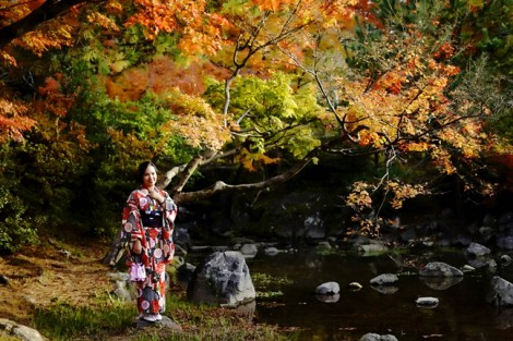 Huyền Mihoo thong dong dạo bước giữa trời thu Kyoto