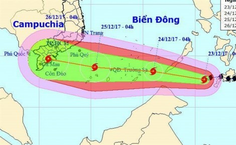 Bão Tembin tiến sát Biển Đông, dự kiến đổ bộ vào ngày 26/12