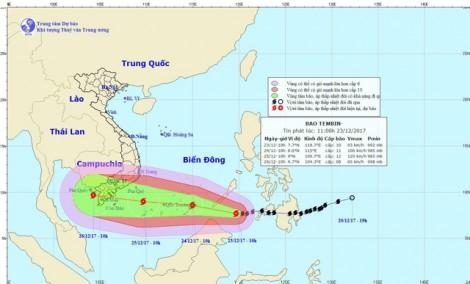 Khả năng bão Tembin vào đất liền với cường độ mạnh nhất chưa từng xảy ra