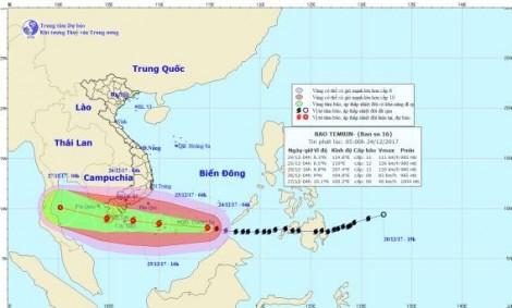Bão Tembin giật cấp 15, sóng biển cao 10m trên biển Đông