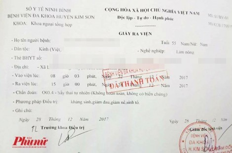 Bệnh nhân nam 55 tuổi ở Ninh Bình được chẩn đoán bị sảy thai tự nhiên