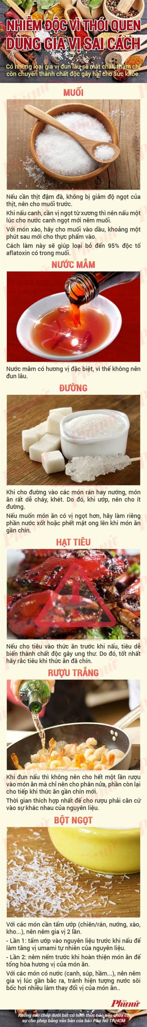 Cách nêm nếm gia vị trong nấu ăn không bị độc