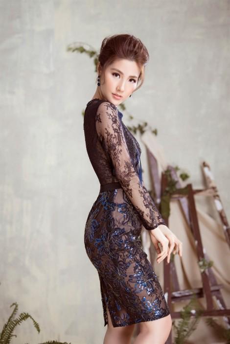 Diễm My 9X ngọt ngào, sang trọng với váy xuyên thấu