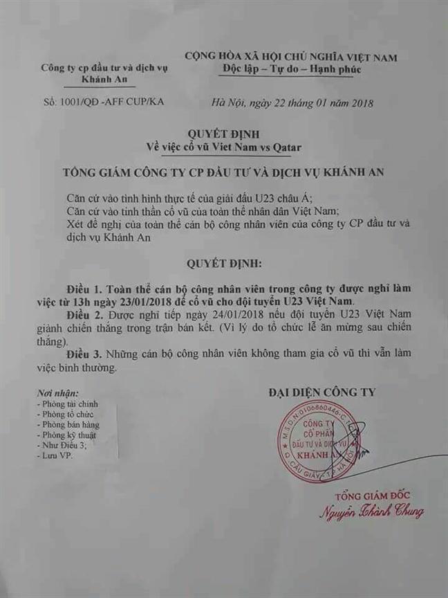 Truong cho hoc sinh nghi hoc de co vu doi tuyen U23 Viet Nam