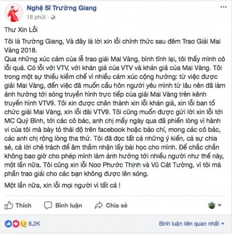 Trường Giang chính thức xin lỗi sau ồn ào cầu hôn Nhã Phương tại 'Mai Vàng'