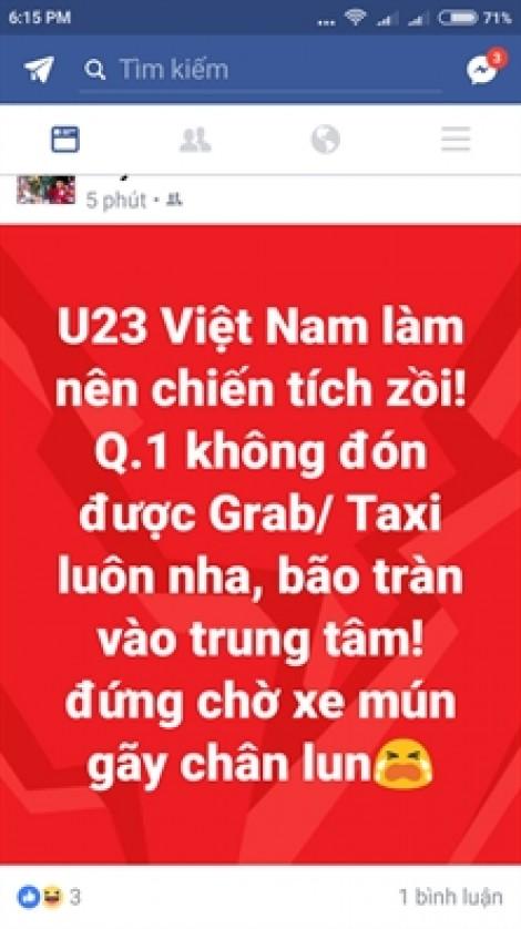 Không bắt được xe vì người ủng hộ U23 Việt Nam đổ ra đường quá đông
