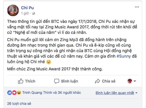 Chi Pu thong bao rut khoi Zing Music Awards 2017 ngay truoc gio trao giai